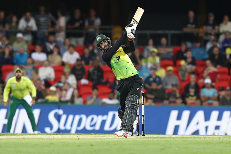 Glenn Maxwell of Australia bats during the International Twenty20 match between Australia and South Africa at Metricon Stadium on November 17, 2018 in Gold Coast, Australia.