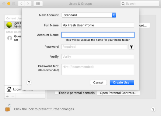 Create new user in MacOS