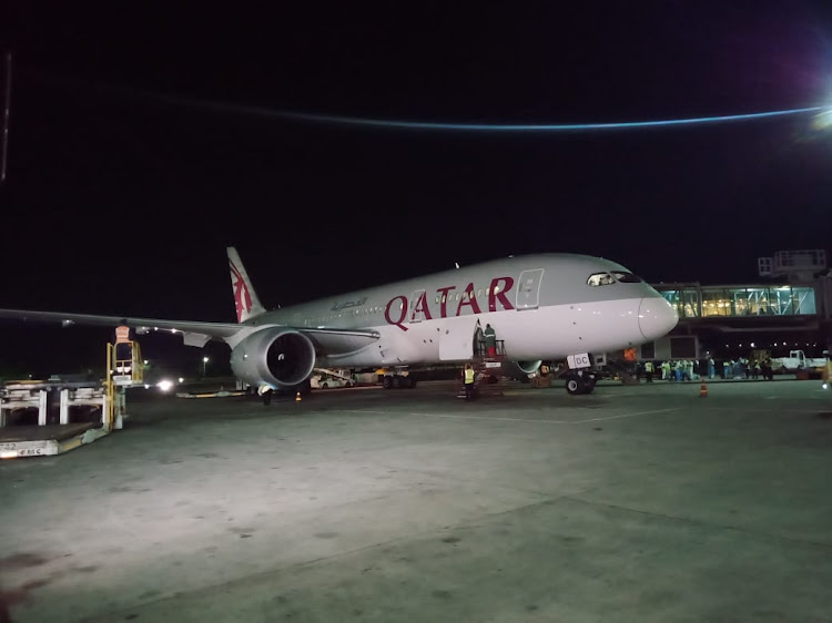 The Qatar plane with the vaccines when it landed at JKIA
