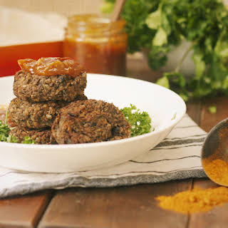 Spicy Black Bean, Kale & Brown Rice Vegan Burgers.