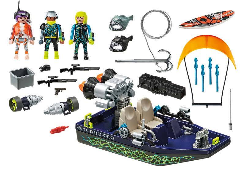 Contenido Real de Playmobil® 70006 SPY TEAM:  Nave con Arpón