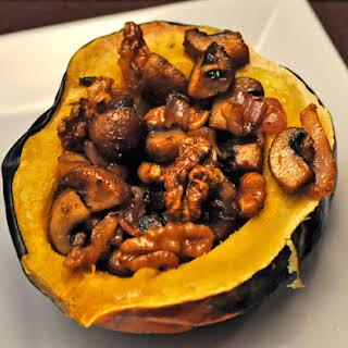 Acorn Squash Stuffed with Walnuts and Mushrooms.