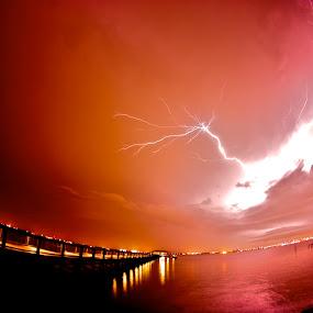 Fla summer light by Chris Wilson - Landscapes Waterscapes ( lightning, florida, summer, johns river, night, seascape, st, landscape, dock, river )