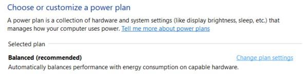 The power plan customization window