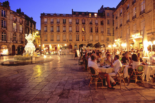 Parliament Square in Bordeaux, France, is a gathering place with many cafes.