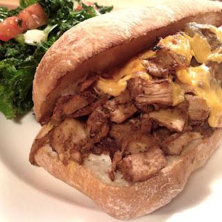 Jackfruit Philly Cheesesteak Sandwich [Vegan].
