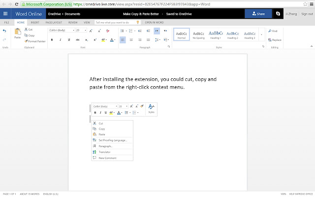 Office Online Copy and Paste chrome extension