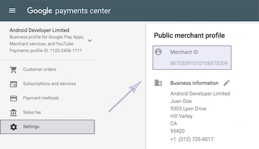 Merchant ID in public profile
