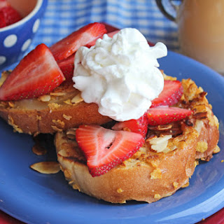 Almond Crusted Cinnamon French Toast with Butter Cream Syrup