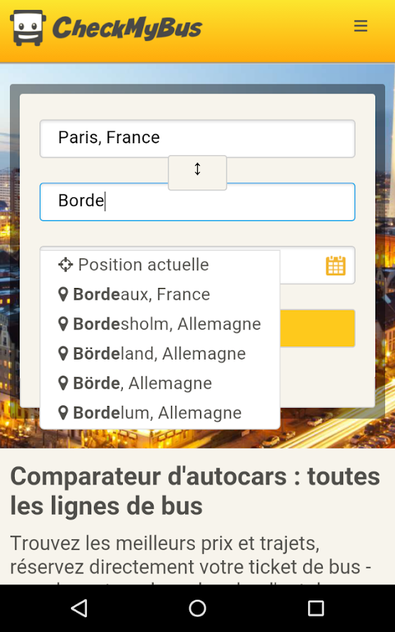 CheckMyBus Comparateur de bus – Capture d'écran