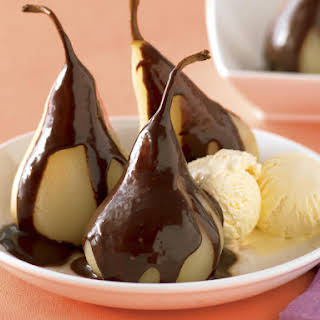 Poached Pears with Hot Chocolate Sauce.