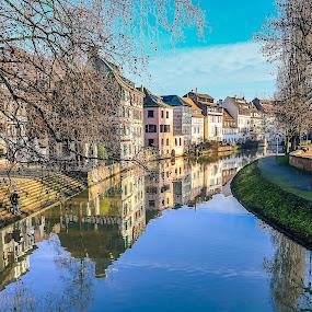 Strassbourg, FR by Nikolas Ananggadipa - City,  Street & Park  Neighborhoods ( canon, reflection, europe, park, strassbourg, buildings, france, nighborhoods, city, river,  )