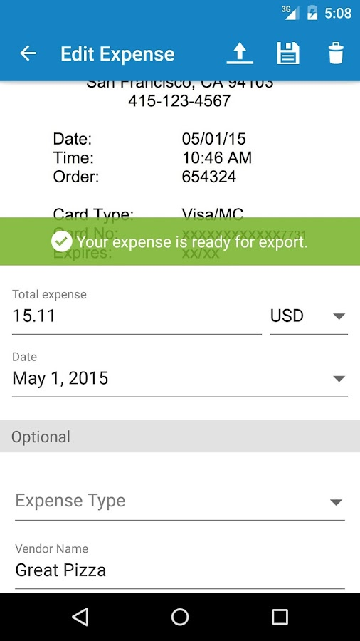 ExpenseIt from Concur- screenshot