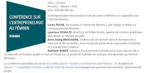 Conférence sur L'entrepreneuriat au féminin