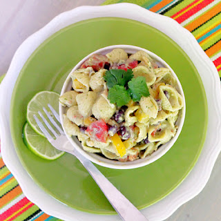 Mexican Pasta Salad with Avocado and Toasted Garlic Greek Yogurt Dressing
