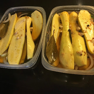 Garlic Dill Yellow Squash Pickles.
