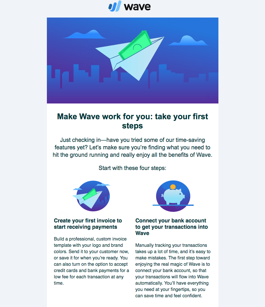 wave's emails work to combat customer churn.