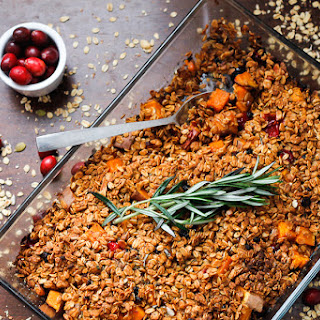 Almond, Cranberry, and Sweet Potato Casserole with Berry Granola Crumble