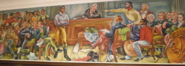 Photo: mural depiction of the courtroom events