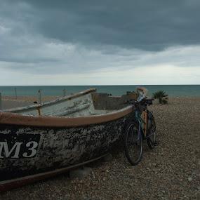 Taking a Break by Doram Jacoby - Transportation Other ( break, bike, sea, rest, boat )