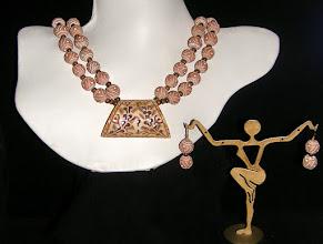 Photo: <BEREHYNYA> {Great Goddess Protectress} unique one-of-a-kind statement jewellery by Luba Bilash ART & ADORNMENT  #108 -Genesis - Буття - carved bone pendant/beads; clay; 14K gold vermeil $120/set SOLD/ПРОДАНИЙ