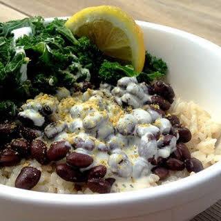 Rice, Bean, and Kale Bowl With Lemon-Dill Tahini.