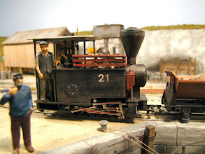 Photo: 010 A new loco made its debut at Portpyn as part of Christopher Payne's 18th anniversary celebration for the layout. This is the very attractive little engine that has been built onto a Fleischmann 0-6-0 HO scale chassis.