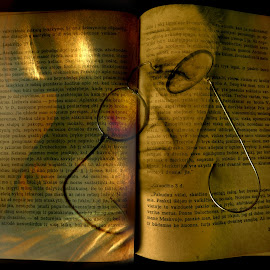 About old book... by Zenonas Meškauskas - Digital Art Abstract ( sculpture, face, old, glasses, book )