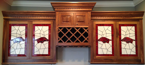 Photo: Custom handmade beautiful cabinet stained glass doors with the Arkansas Razorback logo for a game room/man cave. Fully licensed.