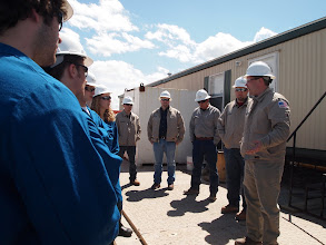 Photo: Introductions at the Chesapeake drilling site.