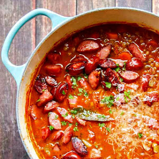 Lentil Soup Recipe with Parmesan and Smoked Sausage.
