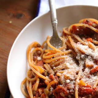 Spaghetti with Vegetarian Lentil Bolognese.