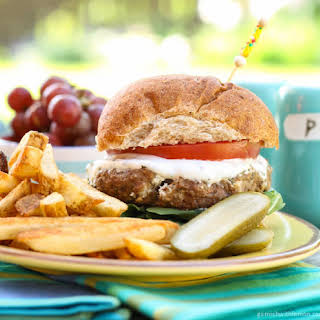 Lamb Burgers with Goat Cheese and Tzatziki.