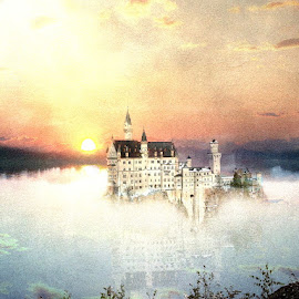 The Forgotten Kingdom by Bjørn Borge-Lunde - Digital Art Places ( fantasy, nature, sunset, castillo, lake, castle, skies )