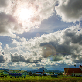 Away from the crowds by Kriswanto Ginting's - Landscapes Cloud Formations ( sky, village, nikon d7100, cloud, day, sunlight, flare, nikon, daylight )