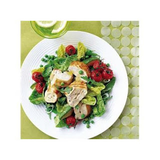 Little Gems Chargrilled Chicken Salad With Roasted Tomatoes, Avocado, Peas and Mint By Delicious Magazine