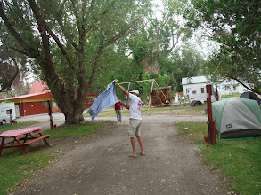 Photo: Day 19 Dubois to Riverton WY 79 miles 1410' climbing: Tents taking 45 mph gusts