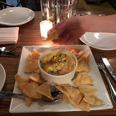 Chips with spinach / cheese dip.  Amazing!