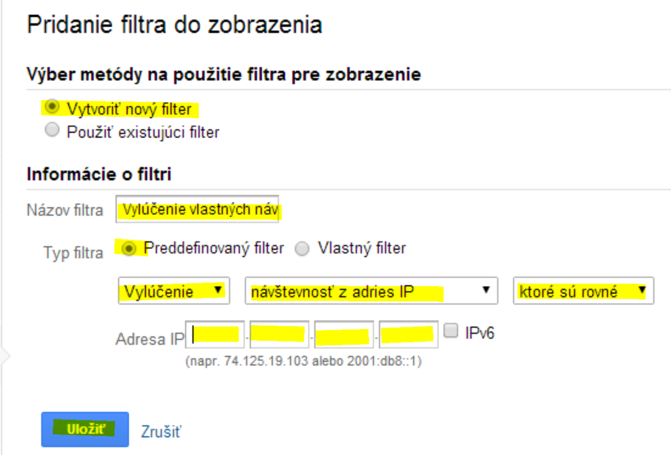nastavenie filtra IP adries v Google Analytics