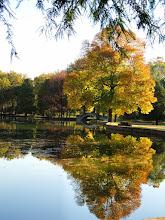 Photo: Gorgeous reflection of autumn trees and bridge at Eastwood Park in Dayton, Ohio.