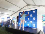 Democratic Alliance leader Mmusi Maimane addresses supporters in KwaMashu on Tuesday ahead of national elections on Wednesday.
