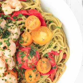Creamy Avocado Pasta with Garlic Shrimp