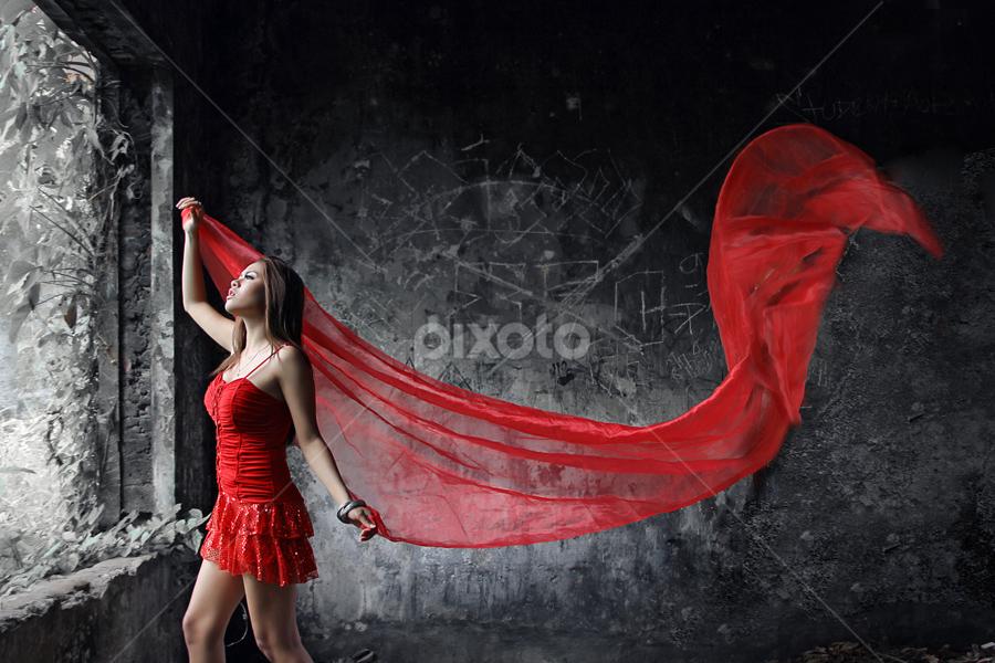 red angel by M Salim Bhayangkara - People Fashion ( model, girl, red, hot, pretty )