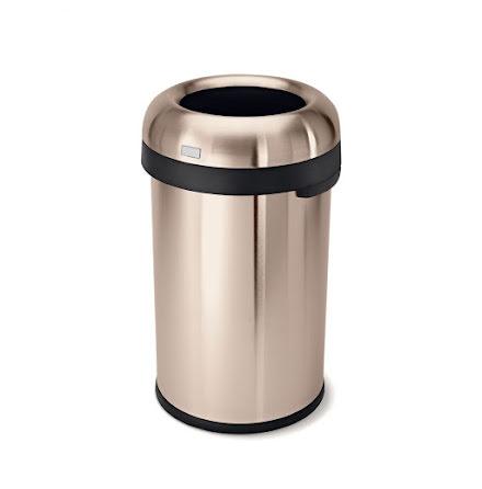 Öppen kulformad soptunna 80 liter, rosenguld stål