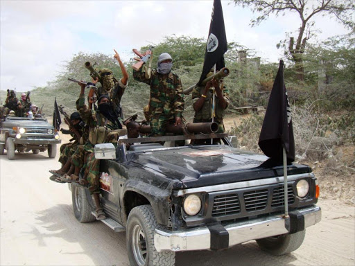 A file photo of militants belonging to Somalia's al Shabaab ride vehicles and display weapons and flags.