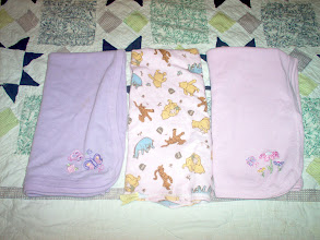 Photo: L-R Baby Connection waffle weave blanket GUC $2.50ppd Classic Pooh by Disney flannel receiving blanket VGUC $3.50ppd Baby Connection waffle weave blanket GUC $2.50ppd