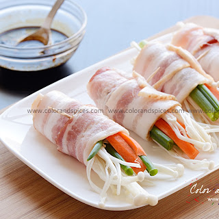 Bacon wrapped Enoki mushrooms.