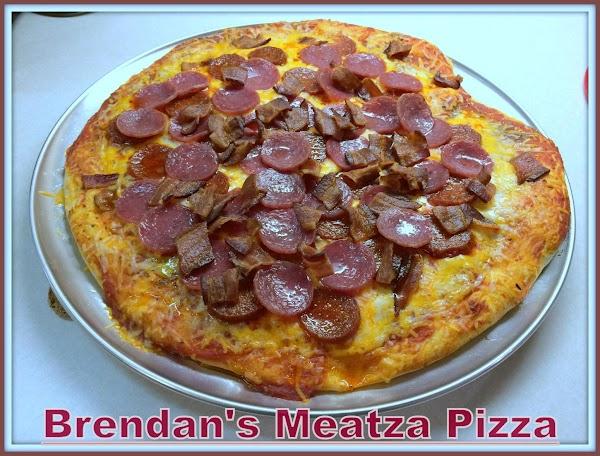 Brendan's perfectly baked Meatza Pizza!