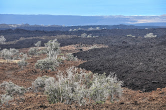Photo: Multiple lava-flows on the way to Volcano National Park.