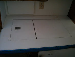 Photo: Ice box lid and counter at start of project.